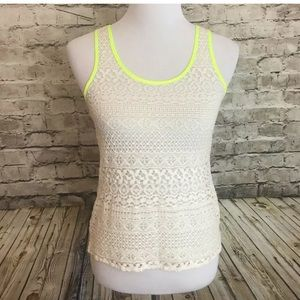 Express neon cream lace tank top cami